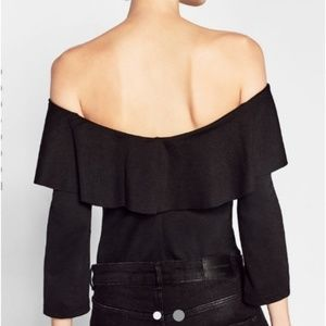 NWT! ZARA Ribbed Off the Shoulder Body Suit